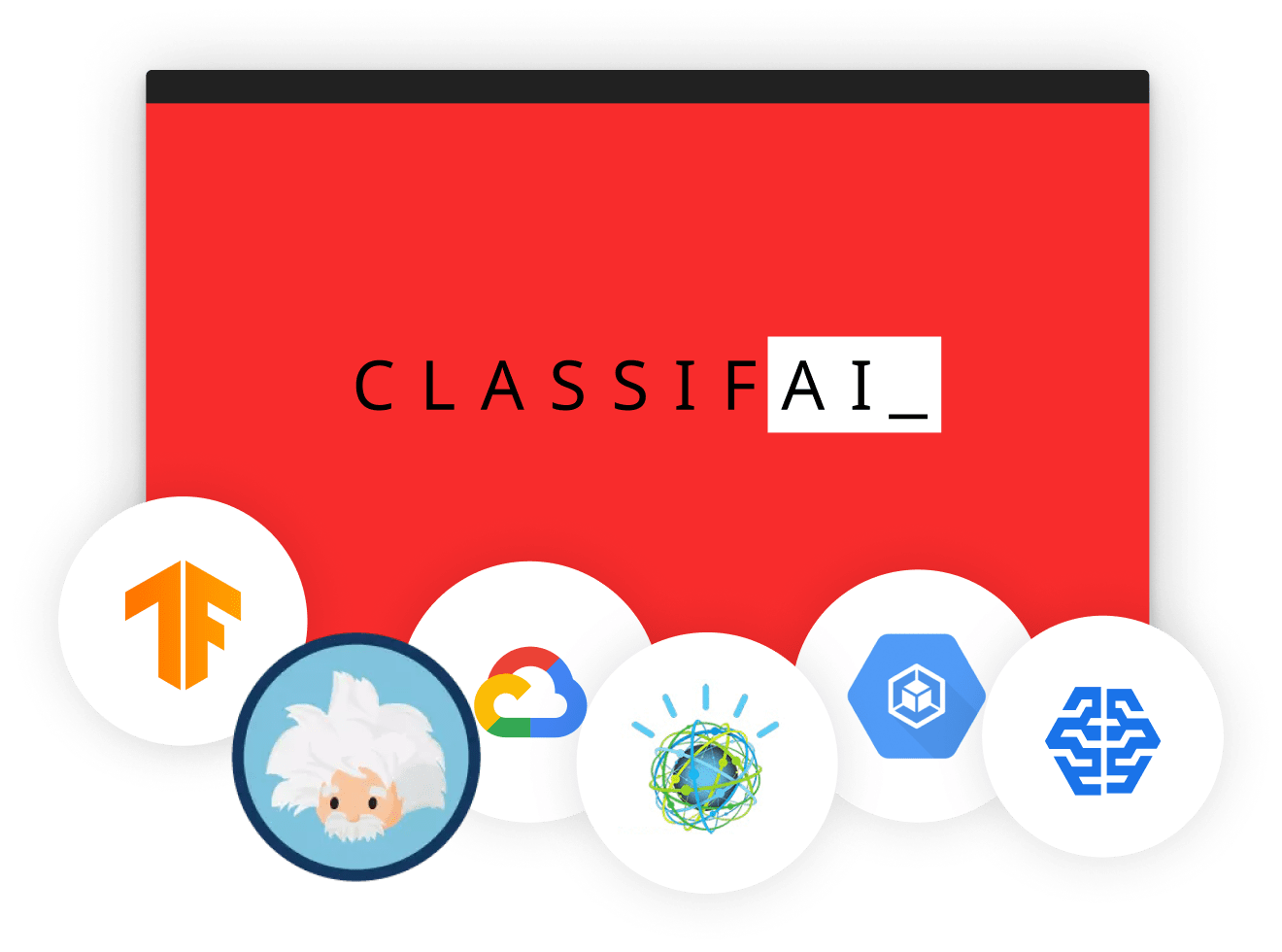 Logos for services ClassifAI will integrate with in the future, such as Google Cloud AI, Amazon SageMaker AI, Einstein AI, TensorFlow, and other emerging technologies.